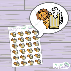Zion the Lion Beer Time ~ Hand Drawn Petite Collection ~ Planner Stickers