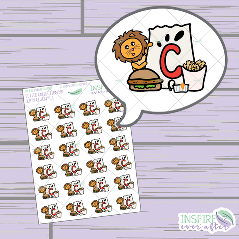 Zion the Lion loves Chicken Fast Food ~ Hand Drawn Foodie Icons ~ Petite Collection ~ Planner Stickers