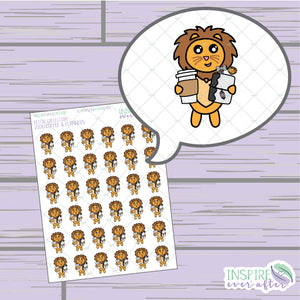Zion the Lion Coffee & Planner Life ~ Hand Drawn Characters Petite Collection ~ Planner Stickers