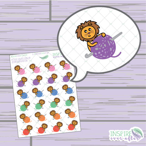 Zion the Lion Crochetin' ~ Hand Drawn Petite Collection ~ Planner Stickers