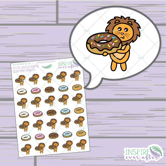 Zion the Lion MMM Donuts ~ Hand Drawn Petite Collection ~ Planner Stickers