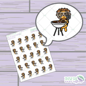 Zion the Lion Grillin' ~ Hand Drawn Petite Collection ~ Planner Stickers