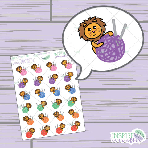 Zion the Lion Gettin' Knitty ~ Hand Drawn Petite Collection ~ Planner Stickers