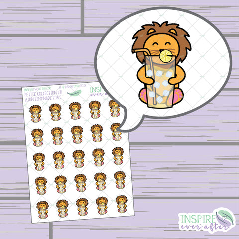 Zion the Lion Lemonade Love ~ Hand Drawn Petite Collection ~ Planner Stickers