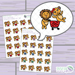 Zion & Luna the Lions Shopping Cart ~ Colorful OR Red ~ Hand Drawn Shopping Icon ~ Petite Collection ~ Planner Stickers