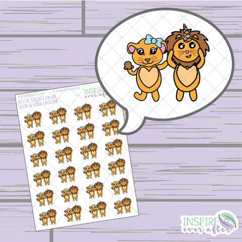 Zion & Luna the Lions Unicone ~ Hand Drawn Petite Collection ~ Planner Stickers
