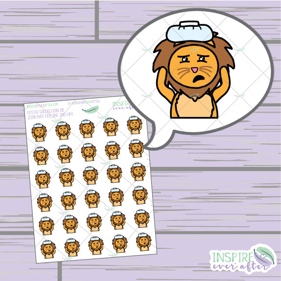 Zion the Lion Not Feeling Too Hot ~ Hand Drawn Petite Collection ~ Planner Stickers