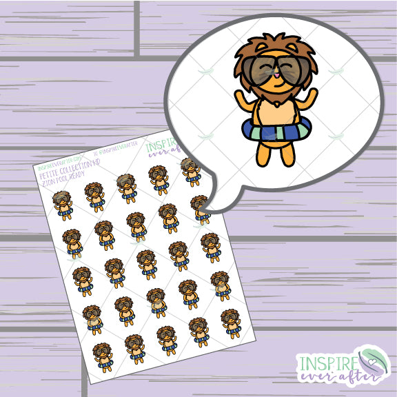 Zion the Lion Pool Ready ~ Hand Drawn Petite Collection ~ Planner Stickers