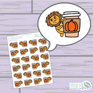 Zion the Lion Pumpkin Spice Latte Life ~ Hand Drawn Character Beverage Icons ~ Petite Collection ~ Planner Stickers