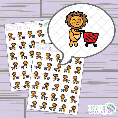 Zion the Lion Shopping Cart ~ Pastel OR Bright ~ Hand Drawn Shopping Icon ~ Petite Collection ~ Planner Stickers