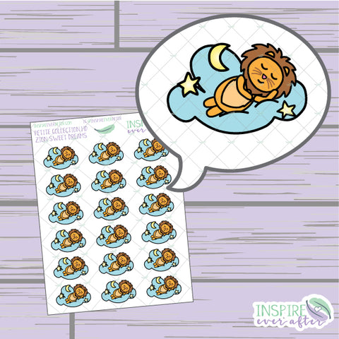 Zion the Lion Sweet Dreams ~ Hand Drawn Petite Collection ~ Planner Stickers