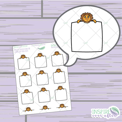 Zion the Lion Top Peek Box ~ Hand Drawn Petite Collection ~ Planner Stickers