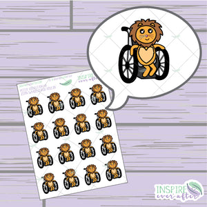 Zion the Lion Wheelchair Rollin' ~ Hand Drawn Petite Collection ~ Planner Stickers
