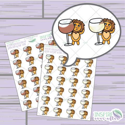 Zion the Lion Wine Love ~ Red OR White Wine ~ Hand Drawn Petite Collection ~ Planner Stickers
