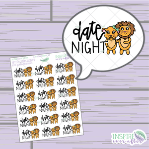 Zion & Luna the Lions Date Night ~ Hand Drawn Couple Icons ~ Petite Collection ~ Planner Stickers