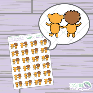 Zion & Luna the Lions Holding Hands ~ Hand Drawn Couple Icons ~ Petite Collection ~ Planner Stickers