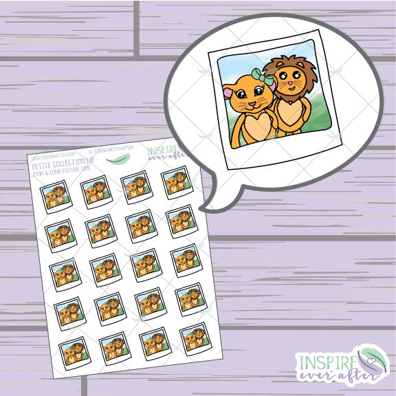 Zion & Luna the Lions Selfie ~ Hand Drawn Couple Icons ~ Petite Collection ~ Planner Stickers