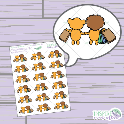 Zion & Luna the Lions Shopping ~ Hand Drawn Couple Icons ~ Petite Collection ~ Planner Stickers