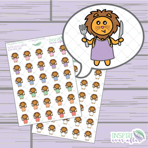 Zion the Lion Meal Prep ~ Colorful OR Neutral ~ Hand Drawn Petite Collection ~ Planner Stickers