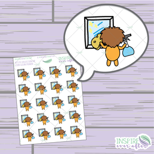 Zion the Lion Clean Mirror ~ Hand Drawn Petite Collection ~ Planner Stickers