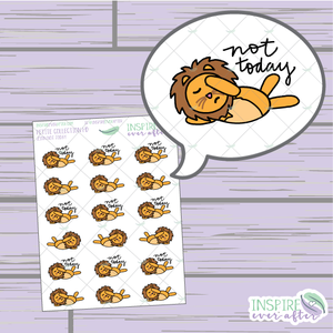 Zion the Lion Not Today ~ Hand Drawn Petite Collection ~ Planner Stickers