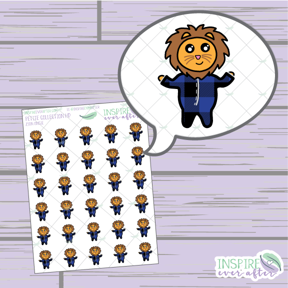 Zion the Lion Onesie ~ Hand Drawn Petite Collection ~ Planner Stickers