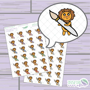 Zion the Lion Paint Brush Icon ~ Colorful OR Neutral ~ Hand Drawn Petite Collection ~ Planner Stickers