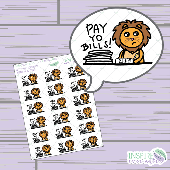 Zion the Lion Pay Yo Bills ~ Hand Drawn Petite Collection ~ Planner Stickers