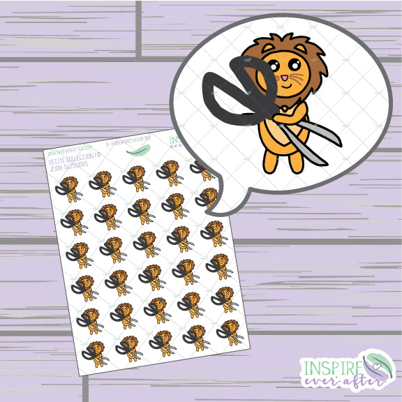 Zion the Lion Scissors Icon ~ Hand Drawn Petite Collection ~ Planner Stickers