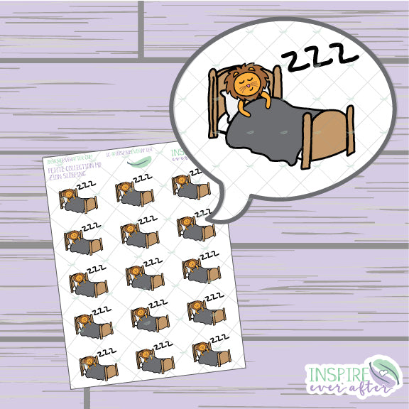 Zion the Lion Sleeping Icon ~ Hand Drawn Petite Collection ~ Planner Stickers