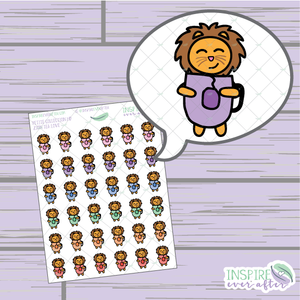 Zion the Lion Tea Love ~ Hand Drawn Petite Collection ~ Planner Stickers