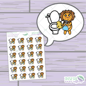 Zion the Lion Clean Toilet ~ Hand Drawn Petite Collection ~ Planner Stickers