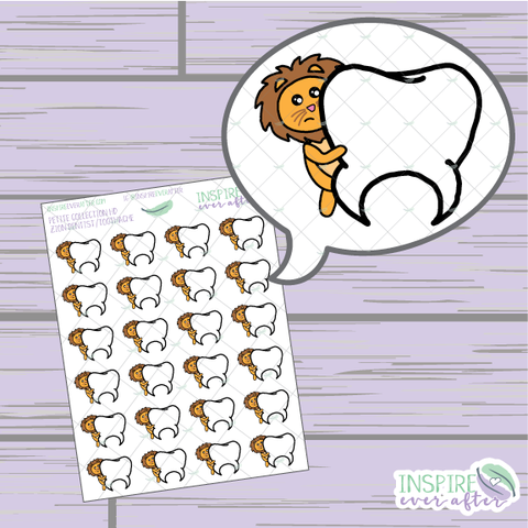 Zion the Lion Dentist/ Toothache ~ Hand Drawn Petite Collection ~ Planner Stickers