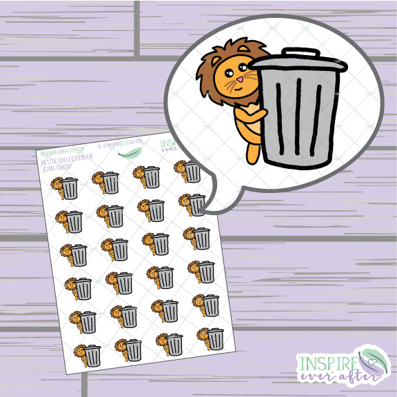 Zion the Lion Trash Icon ~ Hand Drawn Petite Collection ~ Planner Stickers