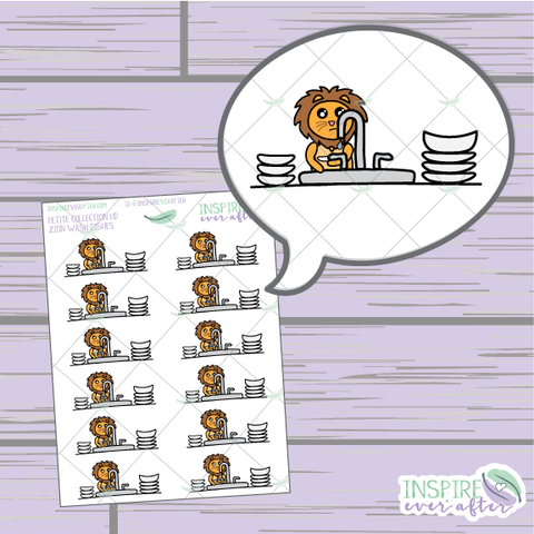 Zion the Lion Wash The Dishes ~ Hand Drawn Petite Collection ~ Planner Stickers