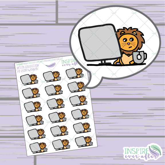 Zion the Lion Workin' ~ Hand Drawn Petite Collection ~ Planner Stickers