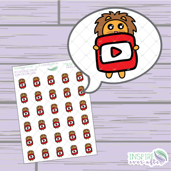 Zion the Lion Video Icon ~ Hand Drawn Petite Collection ~ Planner Stickers