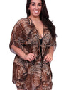 Plus Size Chiffon Open Front Swimwear Cover-up