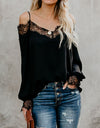 Women's V-neck Lace Shirt