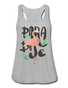 Paradise Flamingo Flowy Tank Top - heather gray