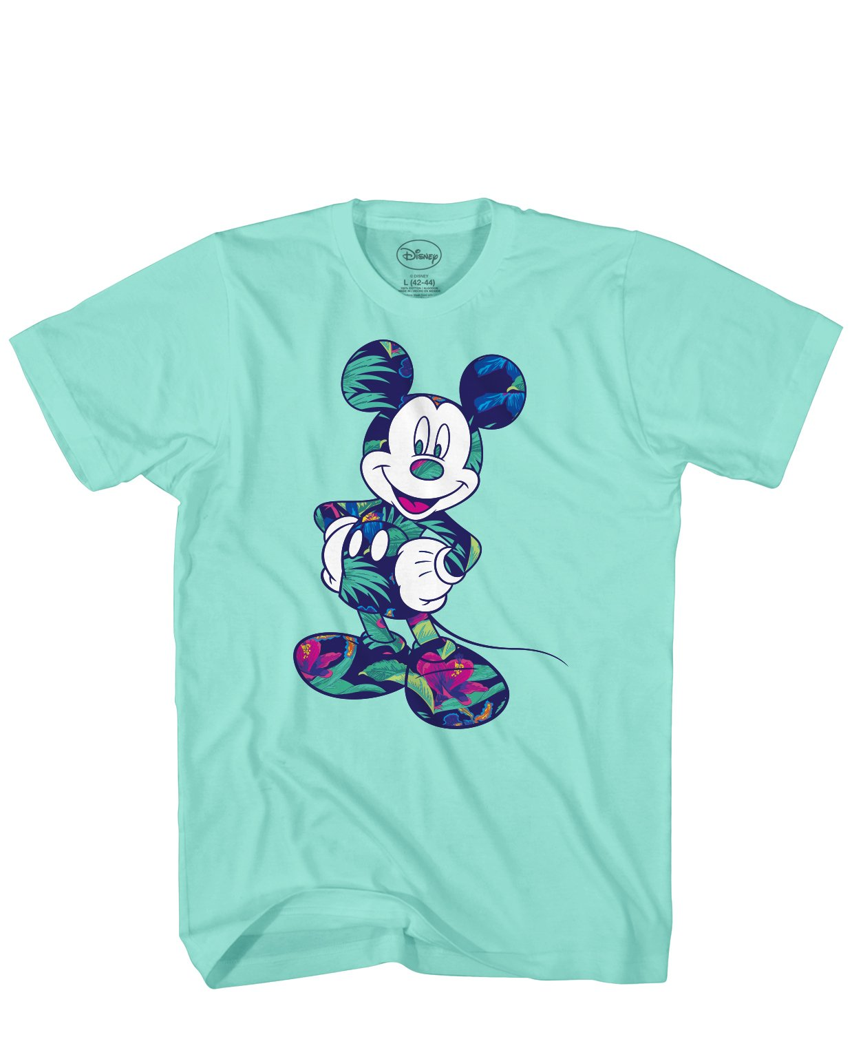 Disney Mickey Mouse Tropical Mint Green Graphic T Shirt S