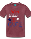 Red , White , & CUTE Kids Graphic Tee - heather burgundy