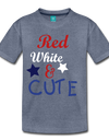 Red , White , & CUTE Kids Graphic Tee - heather blue
