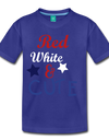 Red , White , & CUTE Kids Graphic Tee - royal blue