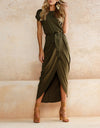 Bohemian Personality Short-Sleeved Asymmetrical Dress