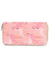 PINK FLAMINGO PRINT VINYL CLUTCH WALLET