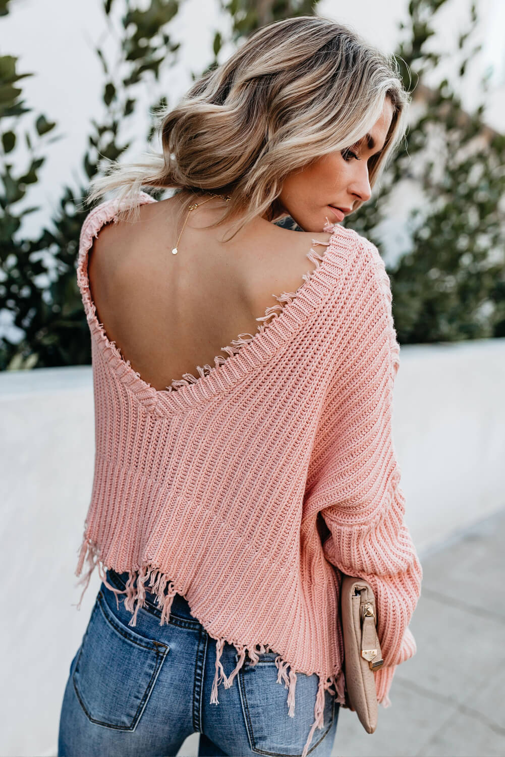 Tainted Love Cotton Distressed Sweater