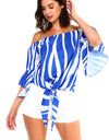 Women's Strapless Striped Bandage Blouse
