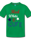 Red , White , & CUTE Kids Graphic Tee - kelly green