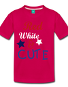 Red , White , & CUTE Kids Graphic Tee - dark pink